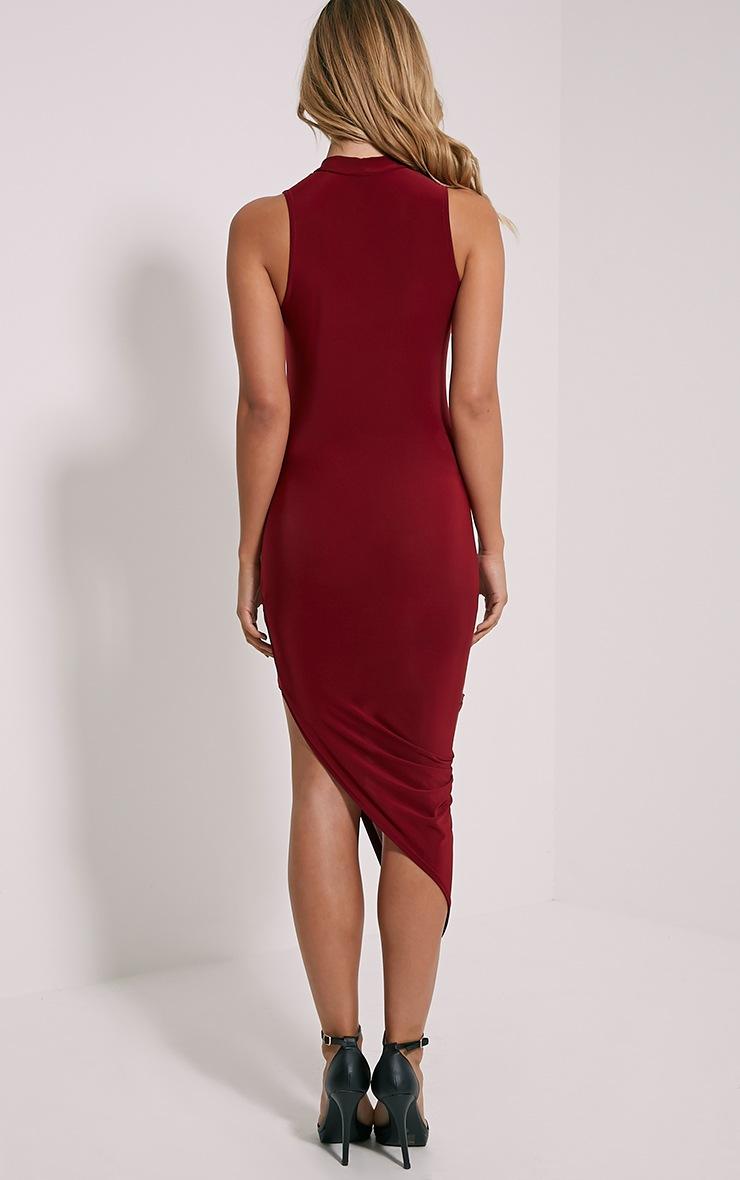 Prim Burgundy Slinky Drape Asymmetric Dress 2