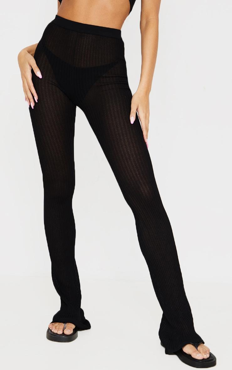 Pantalon en maille transparente noire à jambes évasées 2