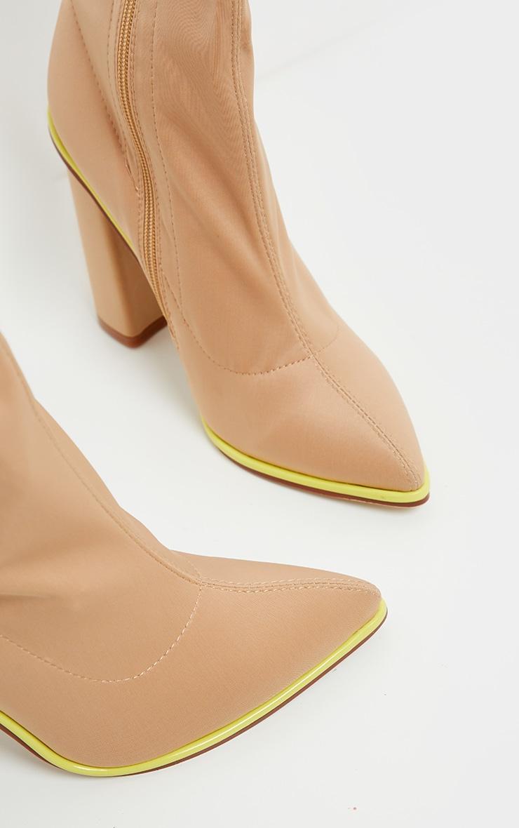 Neon Contrast Trim Block Heel Sock Boot 4
