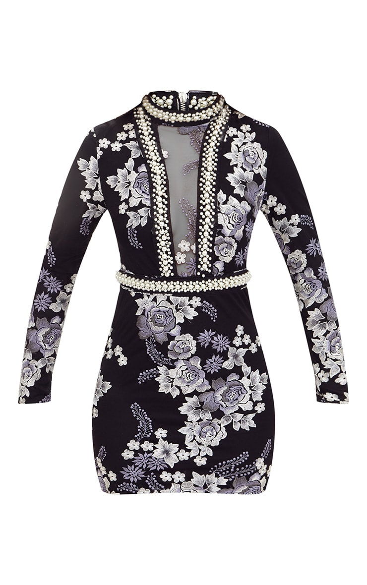 Premium Black Embroidered Pearl Long Sleeve Bodycon Dress  3
