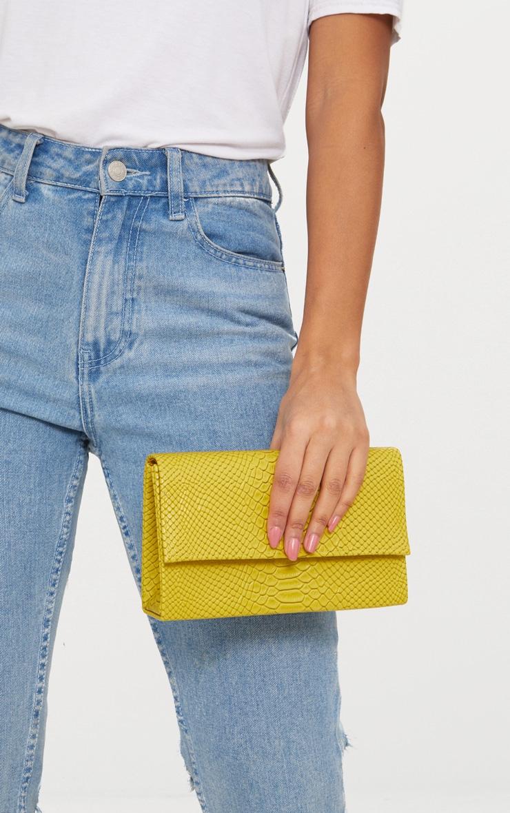 Lime Croc Chain Strap Bag 2