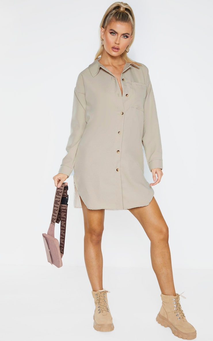 Tall Stone Pocket Detail Oversized Shirt Dress 4