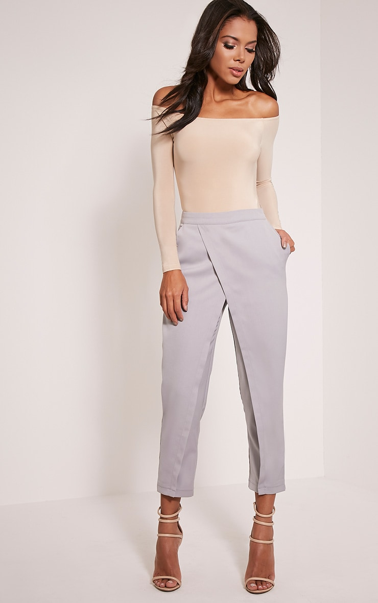 Petite Rachel Grey Cross Front Trousers 1