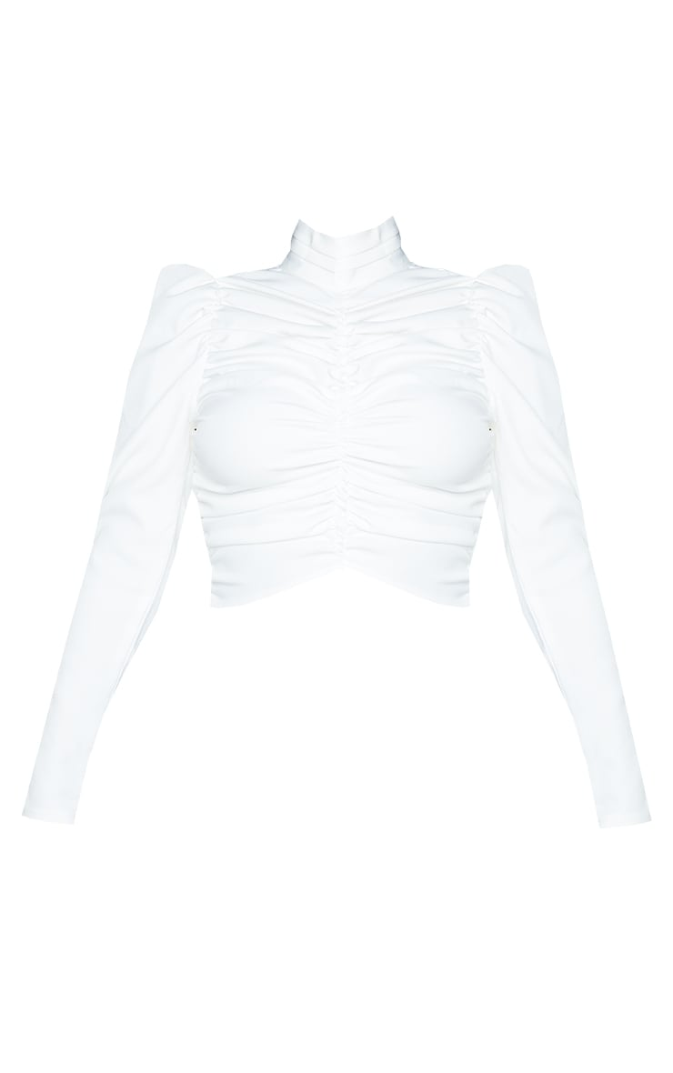 Petite White Ruched Detail Cropped Blouse 5