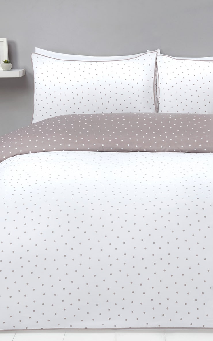 Mink Reverse Polka Dot Double Duvet Set 1