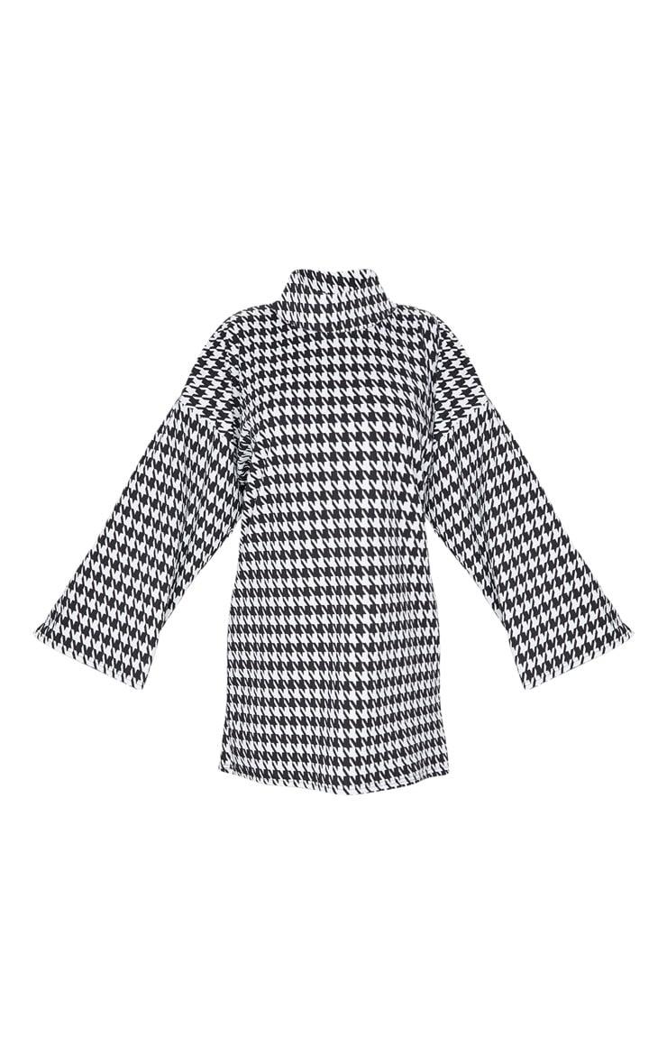 Black Dogtooth Print Rib Roll Neck Flare Sleeve Sweater Dress 3