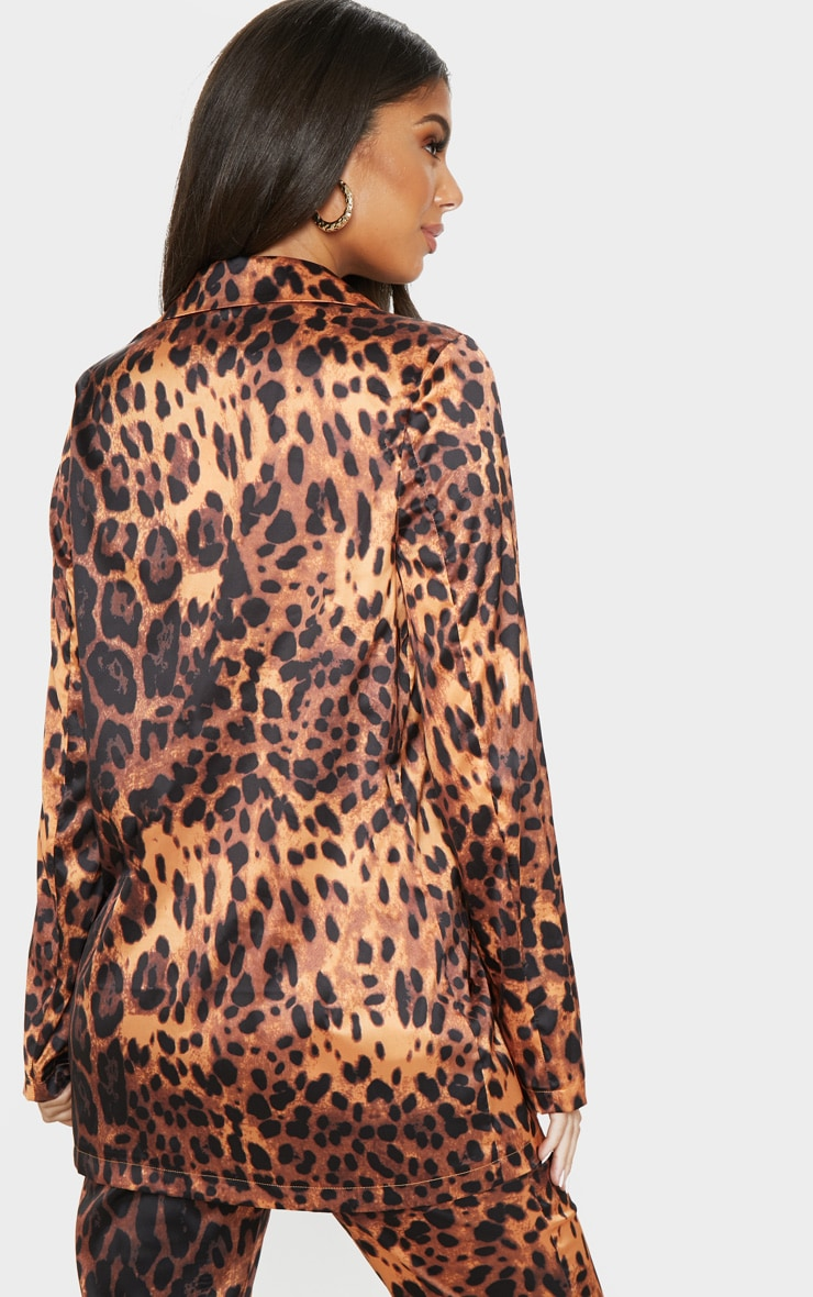 Tan Satin Leopard Woven Blazer  2