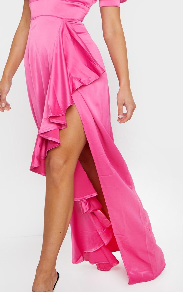 Fuchsia Satin Short Sleeve Frill Detail Maxi Dress 4