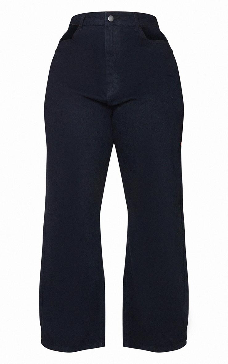 Plus Black Cut Out Denim Jeans 5