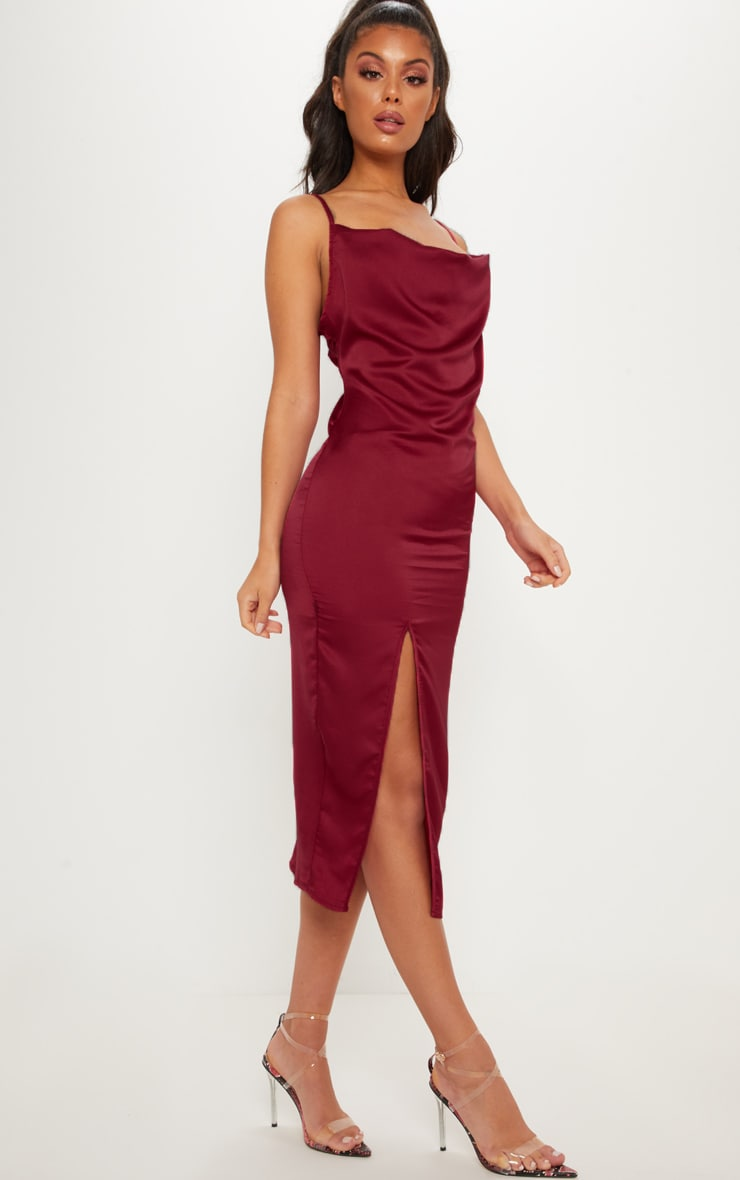 Burgundy Strappy Satin Cowl Midi Dress 4
