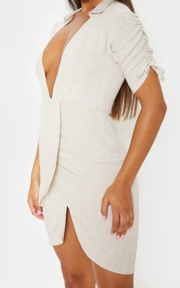 Stone Linen Ruched Sleeve Deep Plunge Bodycon Dress 5