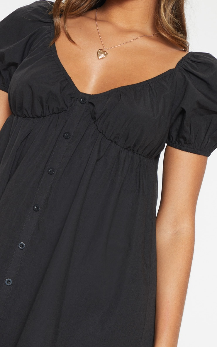 Black Button Through Ruched Shift Dress 5
