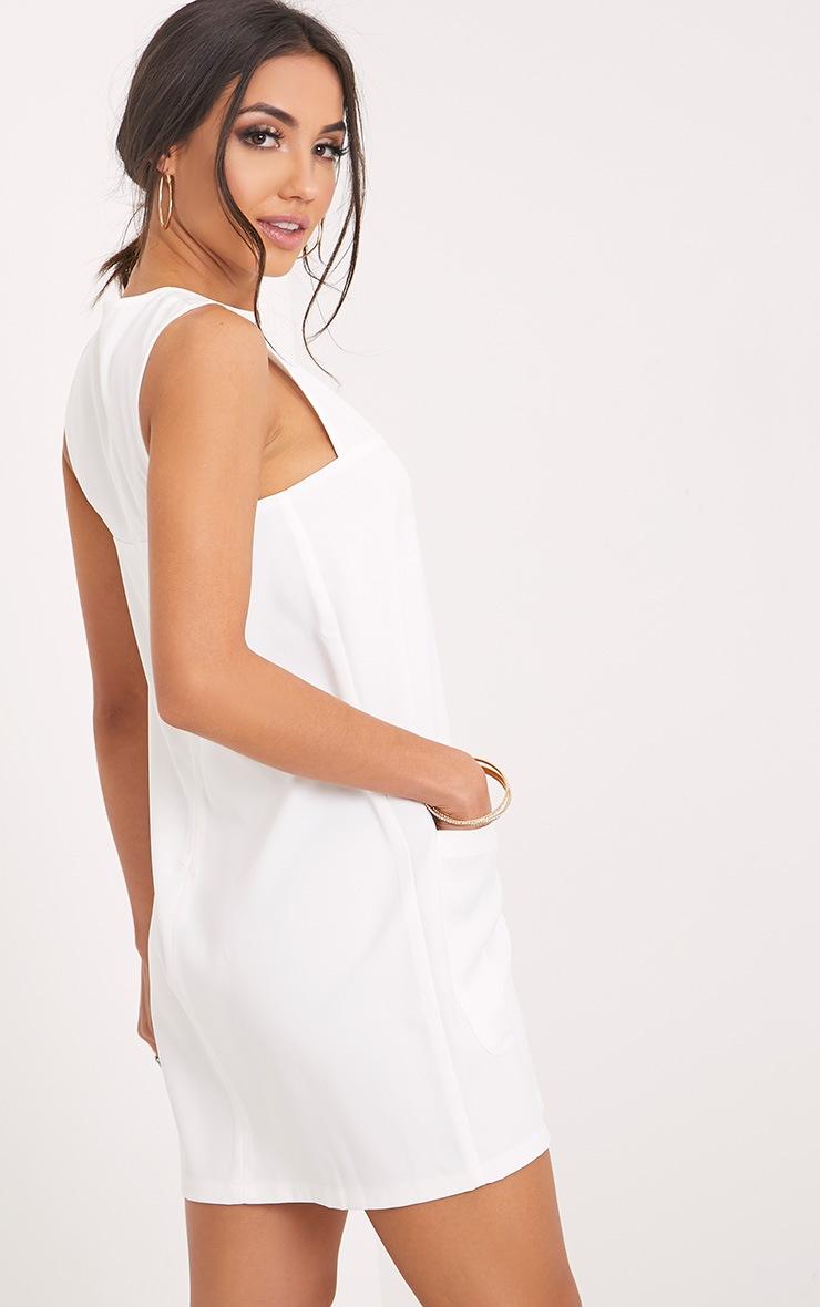 Madline White Pocket Detail Shift Dress  2