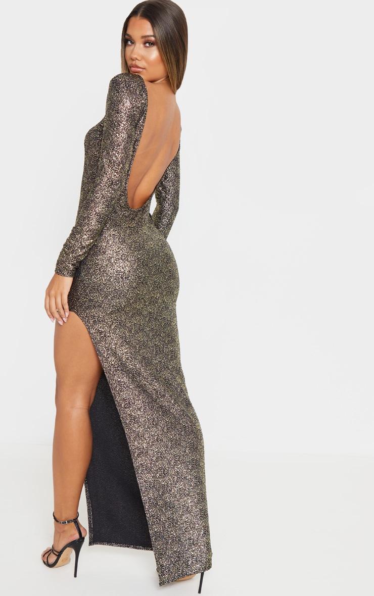 Gold Foil Backless Long Sleeve Maxi Dress 1