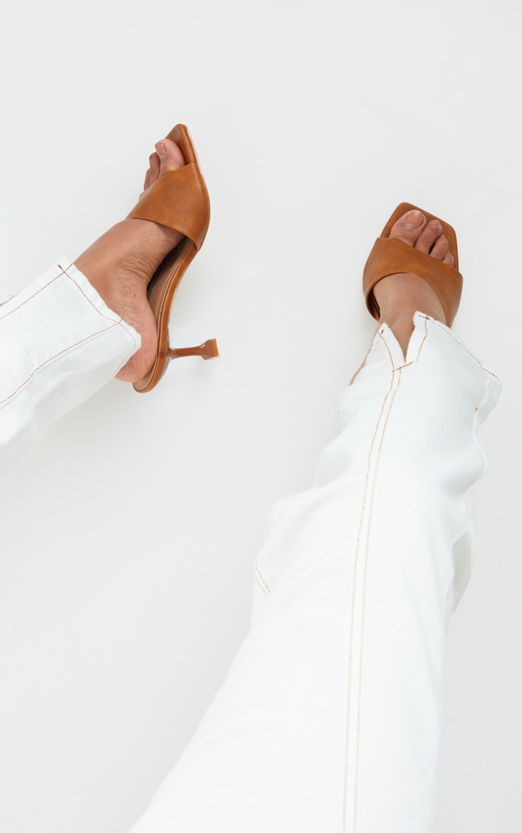 Tan Asymmetric Low Heel Mules 1