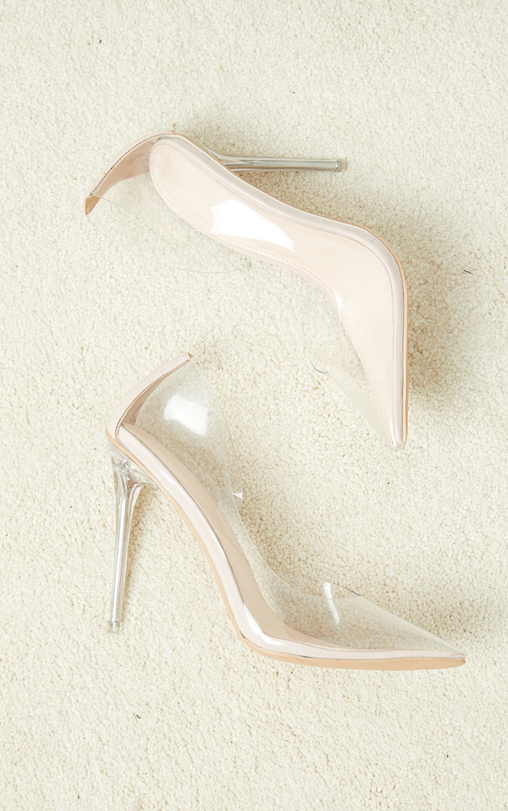 Nude High Clear Heel Cut Out Side Clear Court Shoes 2