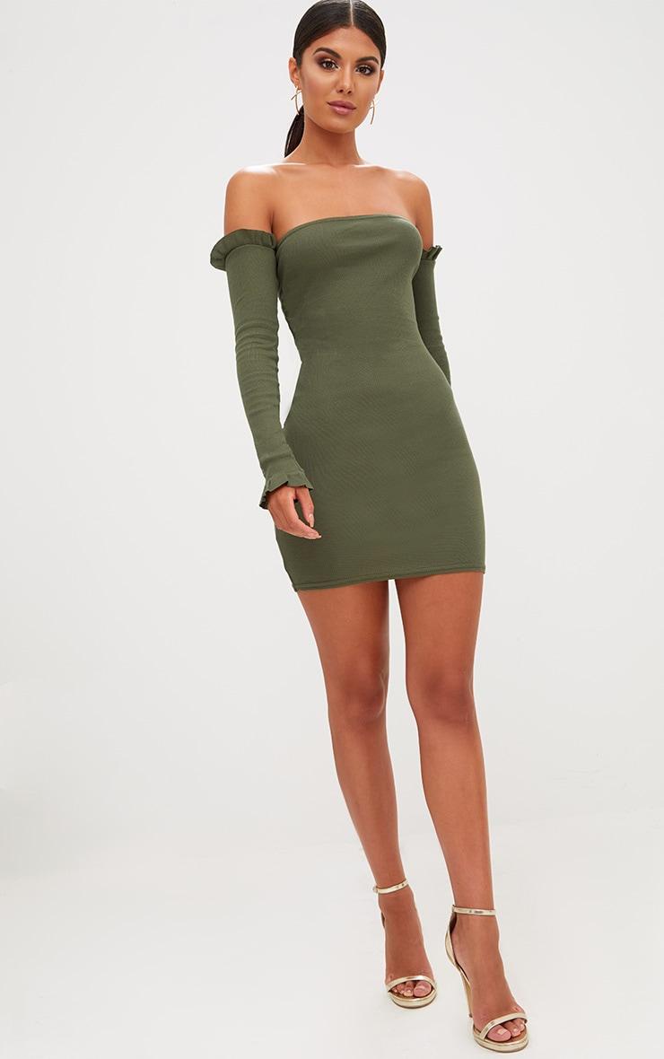 Khaki Ribbed Frill Bardot Bodycon Dress 4