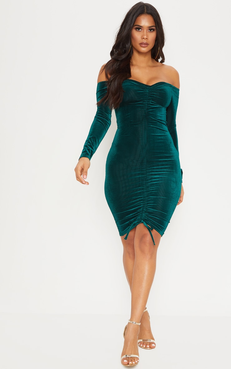 Emerald Green Ribbed Velvet Bardot Ruched Bodycon Dress 4