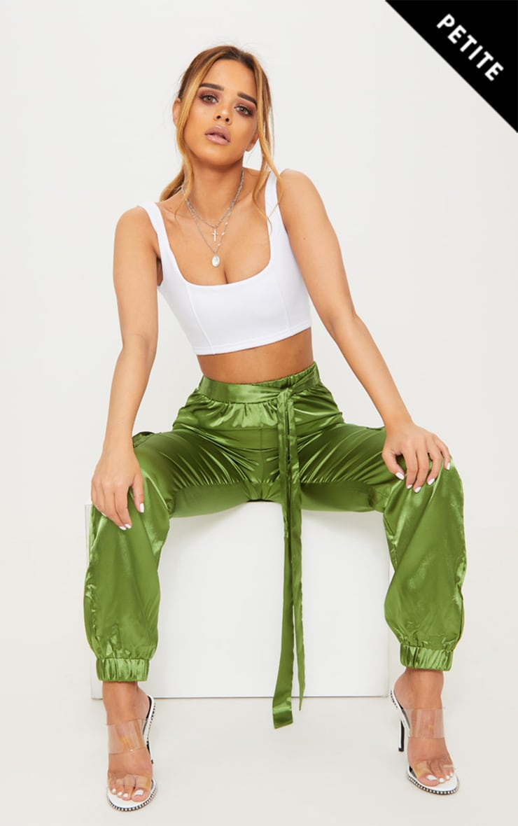 Petite Olive Satin Cargo Trousers 1