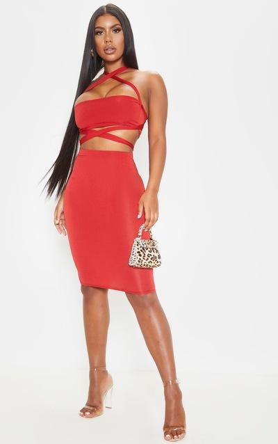 Scarlet Slinky Midi Skirt