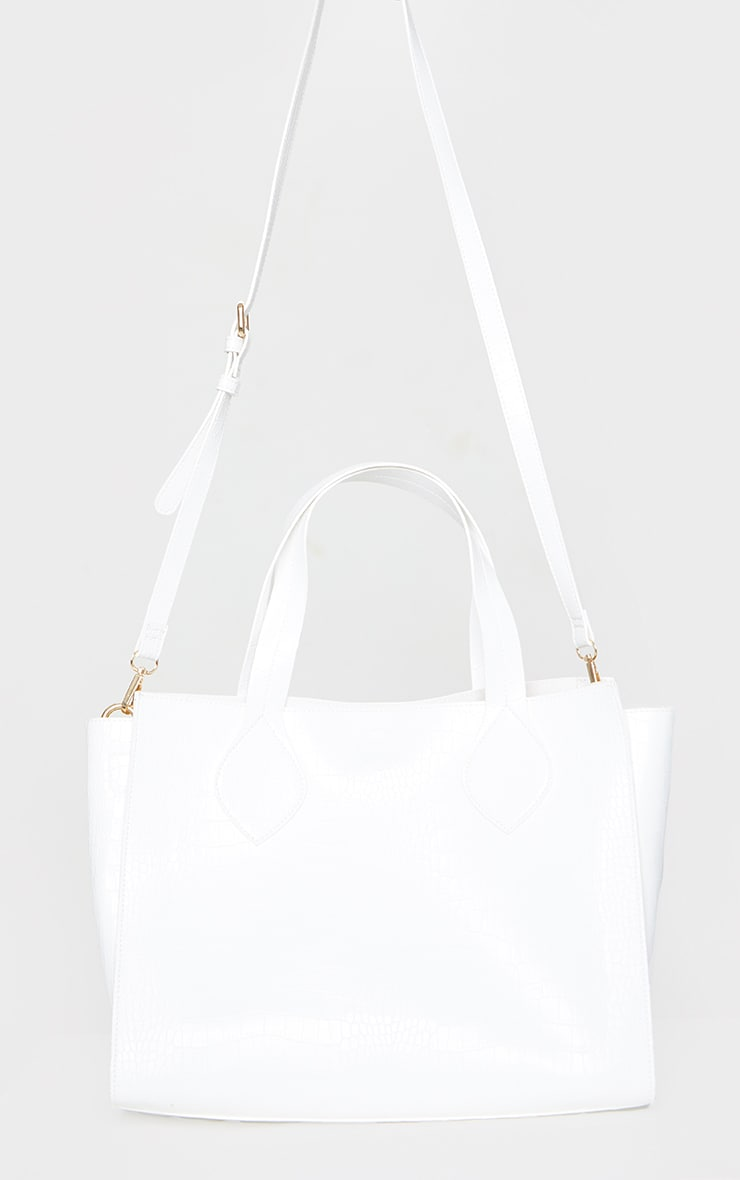White PU Croc Tote Bag 2