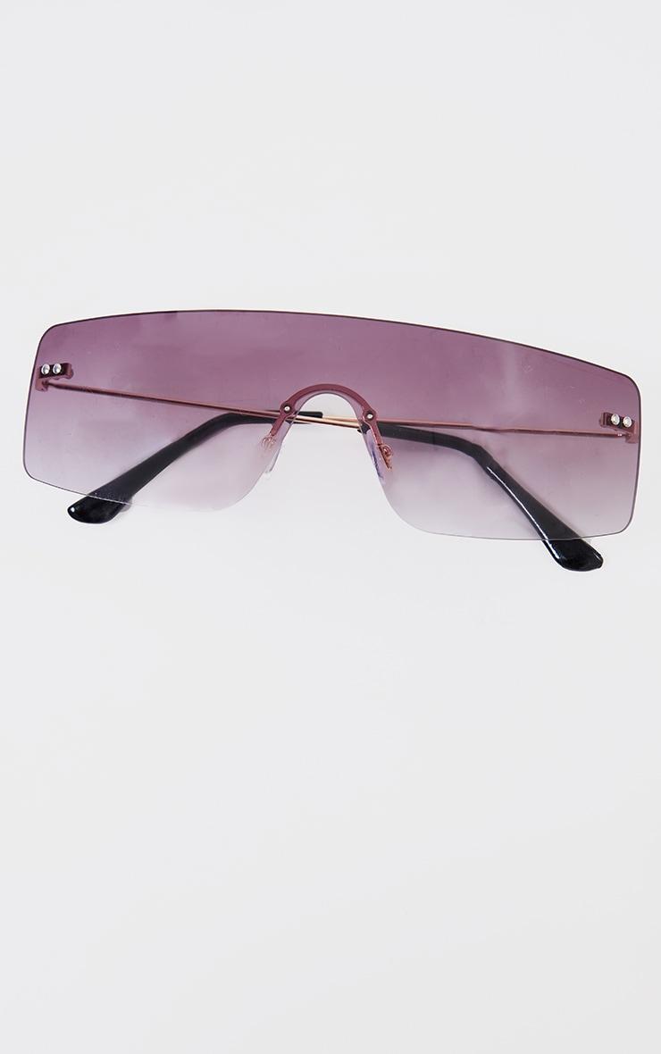 Black Faded Lens Square Frame Frameless Sunglasses 3