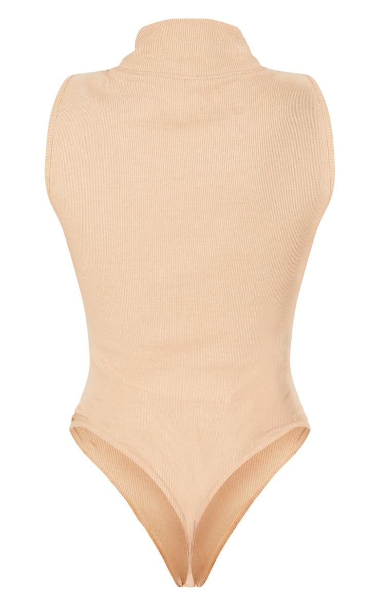 Sand Structured Rib High Neck Sleeveless Bodysuit 4