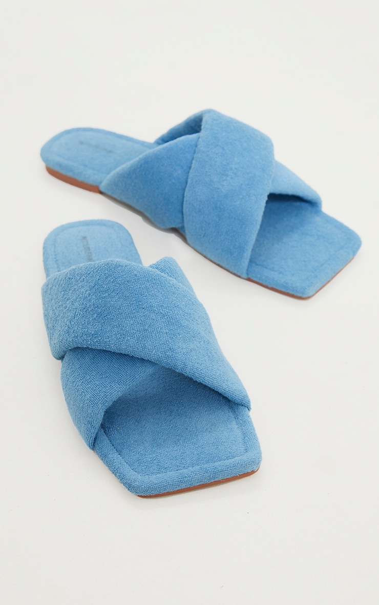 Blue Towelling Square Toe Cross Over Mule Sandals 3