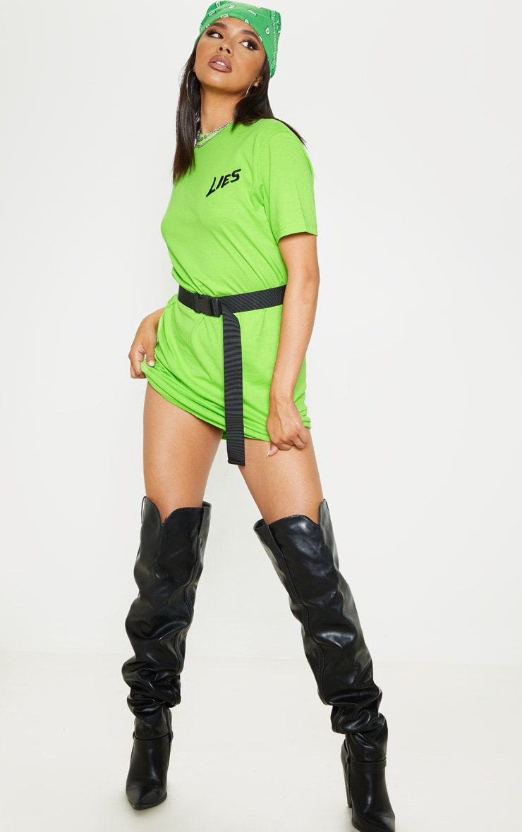 Neon Lime Lies Slogan Embroidered Oversized T Shirt Dress  1
