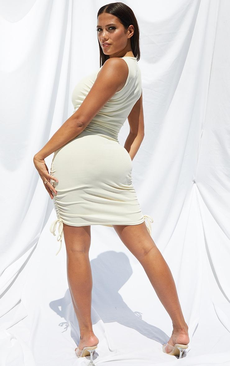 Shape Cream Rib Ruched Side Sleeveless Bodycon Dress 2