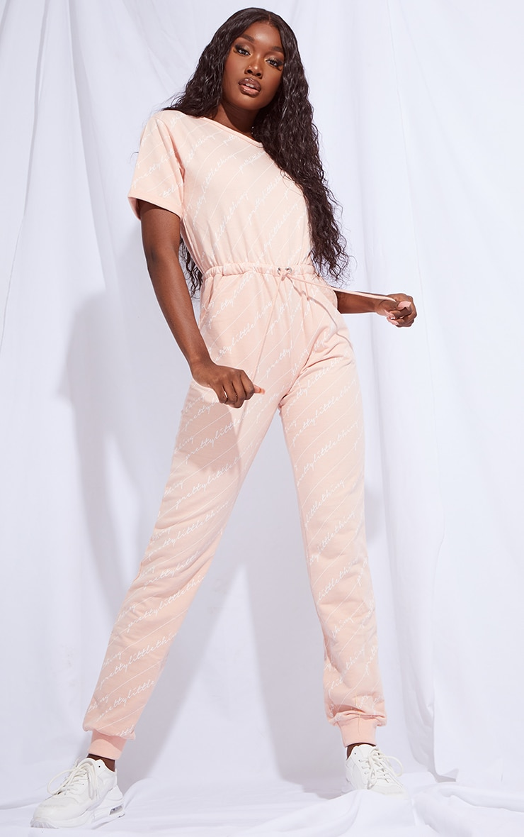 PRETTYLITTLETHING Tall Pink Short Sleeve Sweat Jumpsuit 1