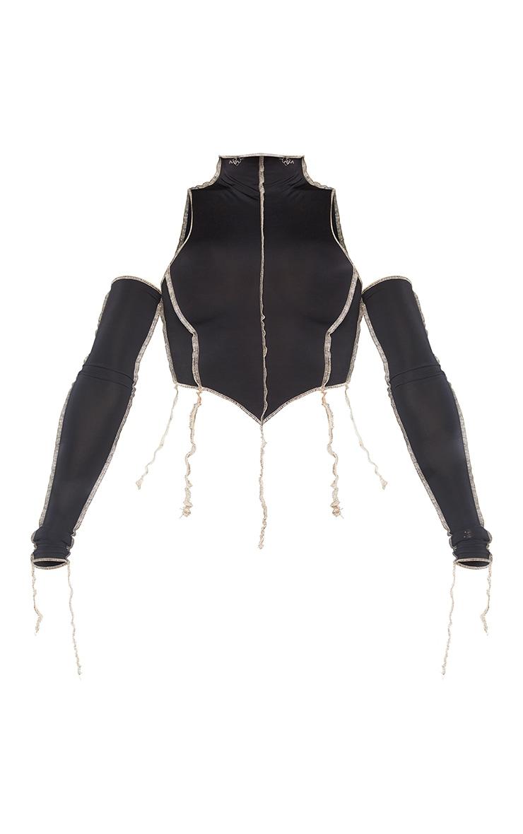 Shape Black Slinky Overlock Stitch Dipped Hem Crop Top 5