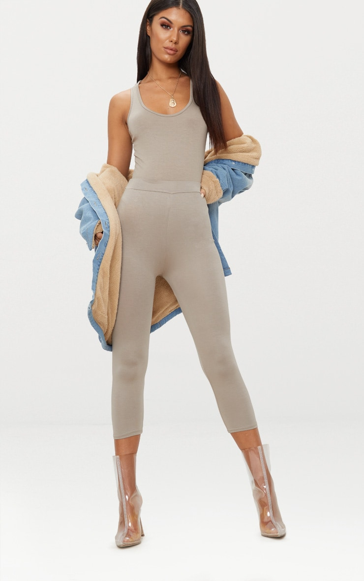 Taupe Basic Cropped Jersey Leggings  1