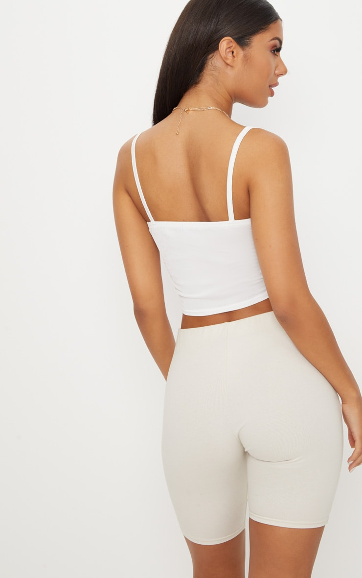 White Ruched Front Strappy Crop Top 2