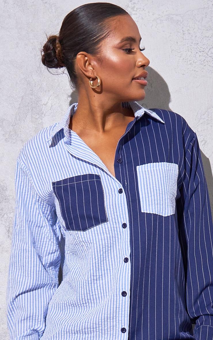 Baby Blue Flannel Contrast Pinstripe Button Down Oversized Shirt Dress 4