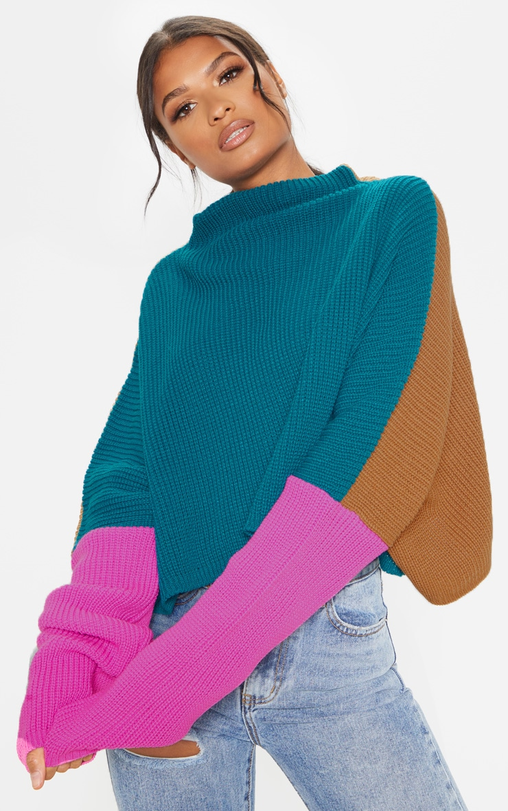 Teal Oversized Colour Block Jumper 1
