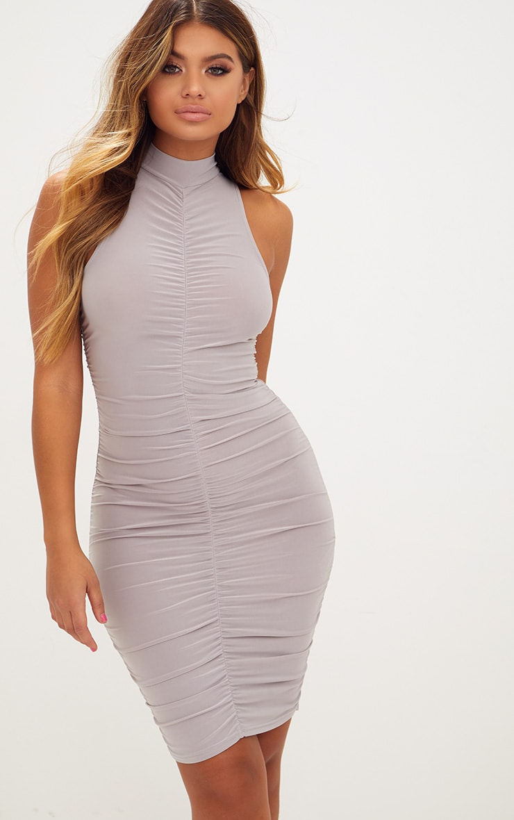 Ice Grey High Neck Sleeveless Ruched Slinky Bodycon Dress 1