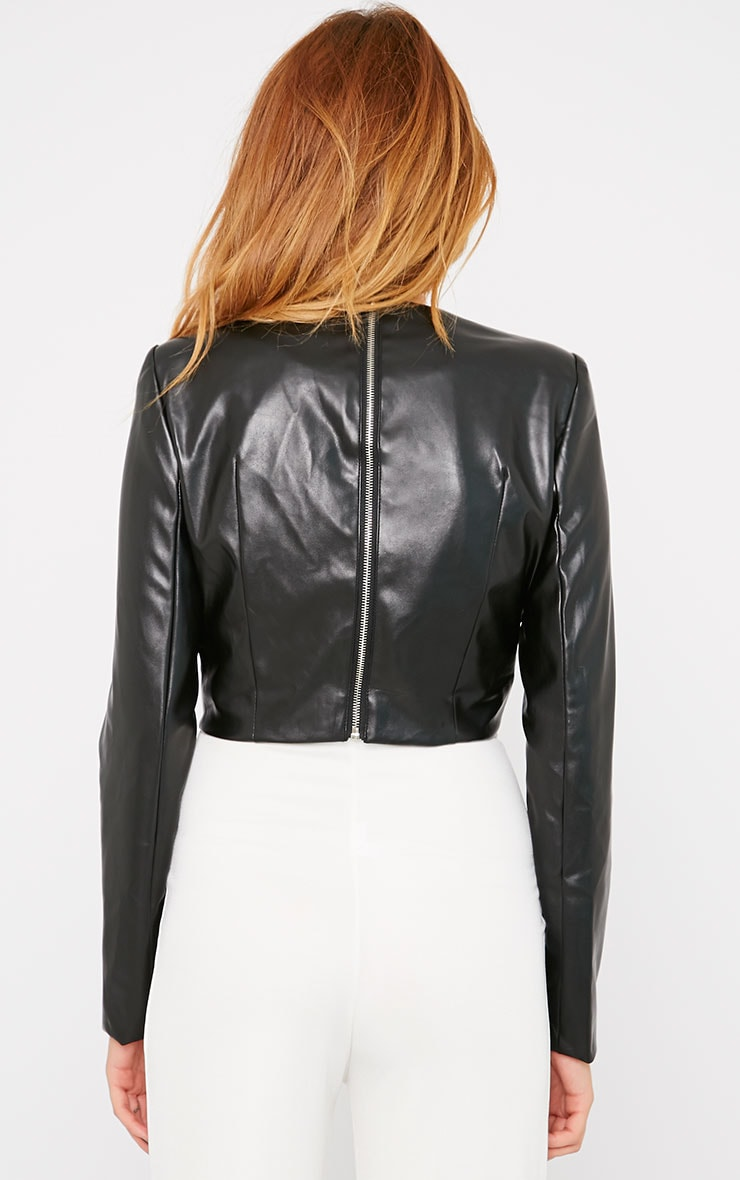 Analise Black Leather Bow Front Crop Top  3