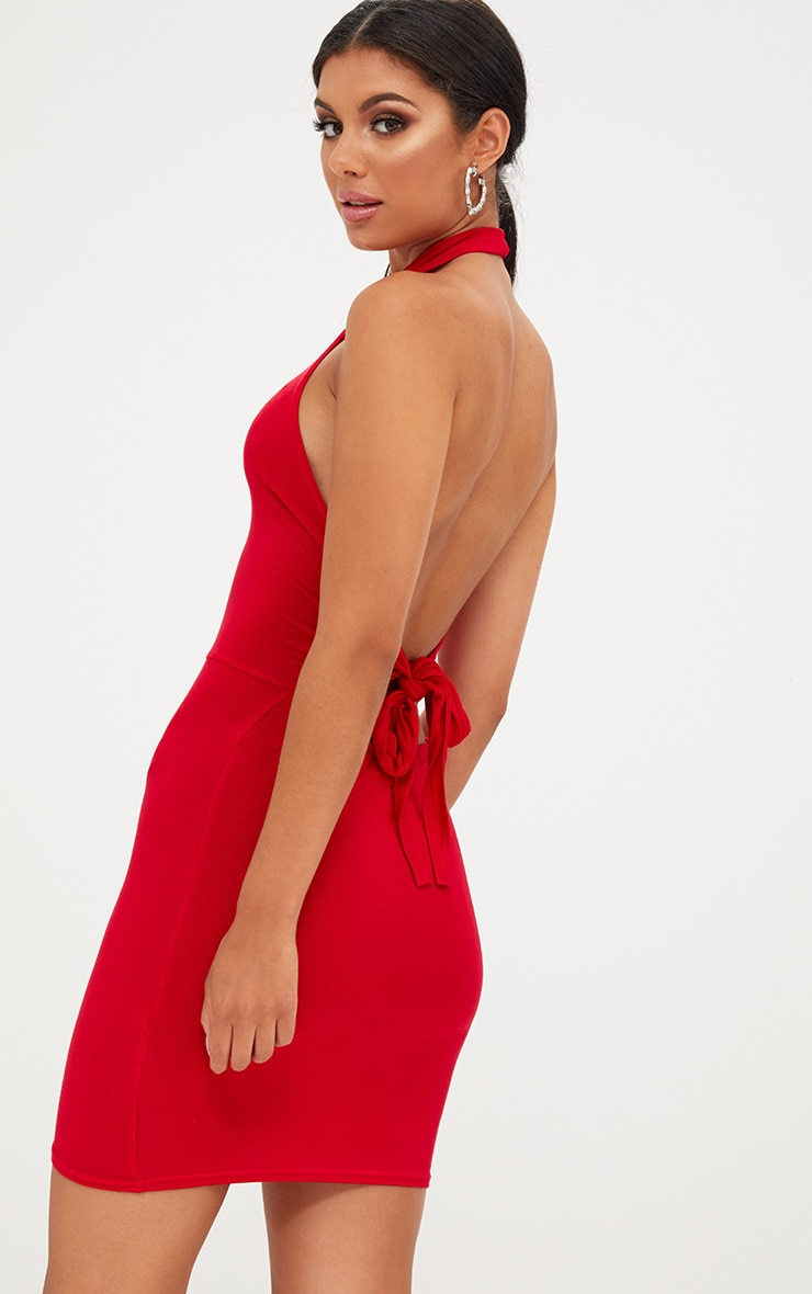 Red High Neck Tie Back Bodycon Dress 2