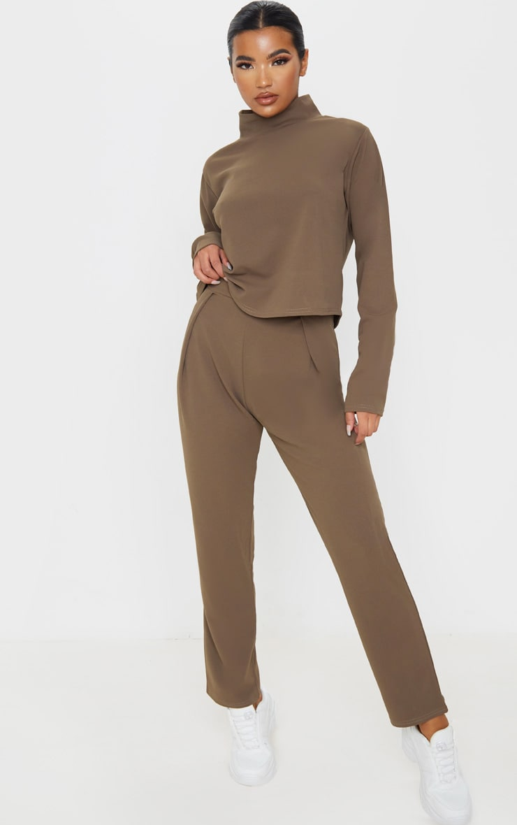 Mocha High Waisted Pleat Detail Tapered Trouser 1