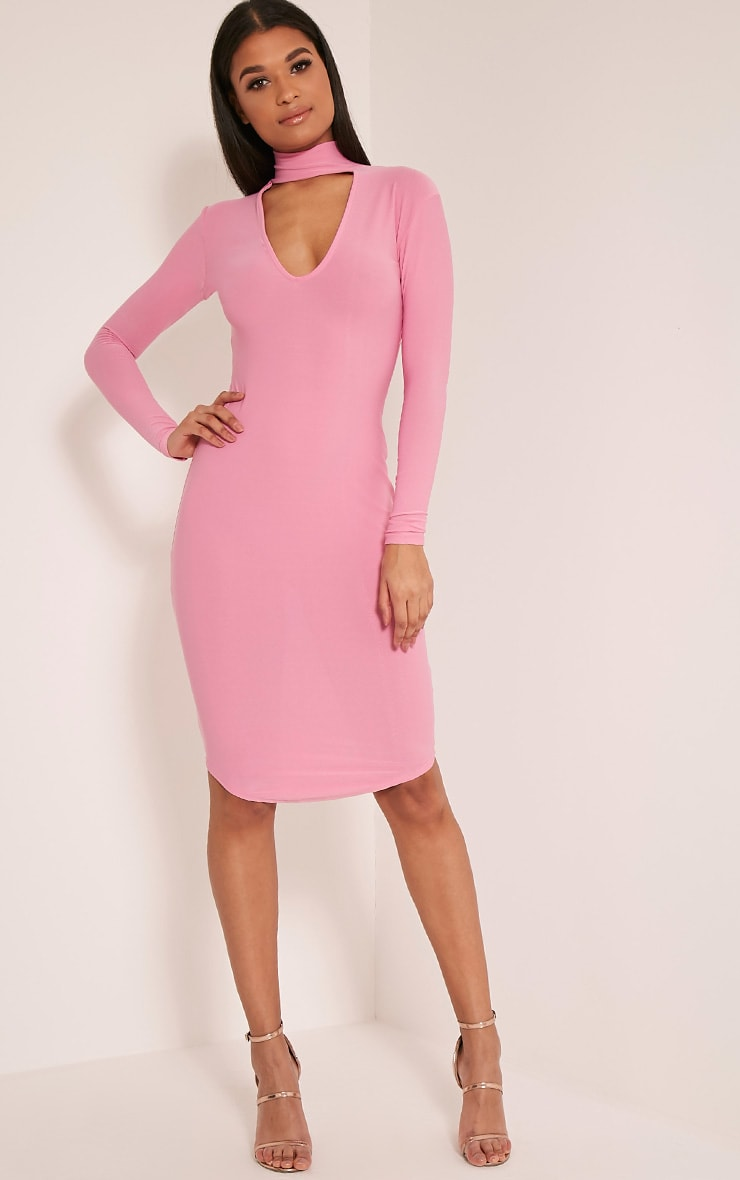 Malaya Bubblegum Pink Crepe Choker Detail Midi Dress 1