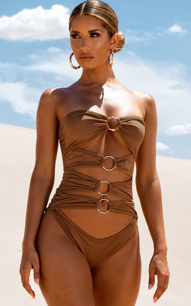 Mocha Bamboo Ring Strapless Cut Out Swimsuit 5
