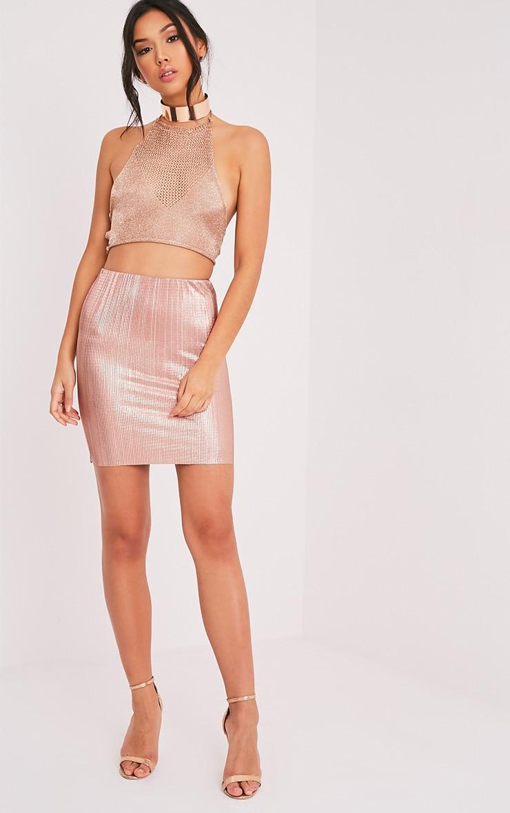 Tandy Metallic Rose Gold Pleated Mini Skirt 6