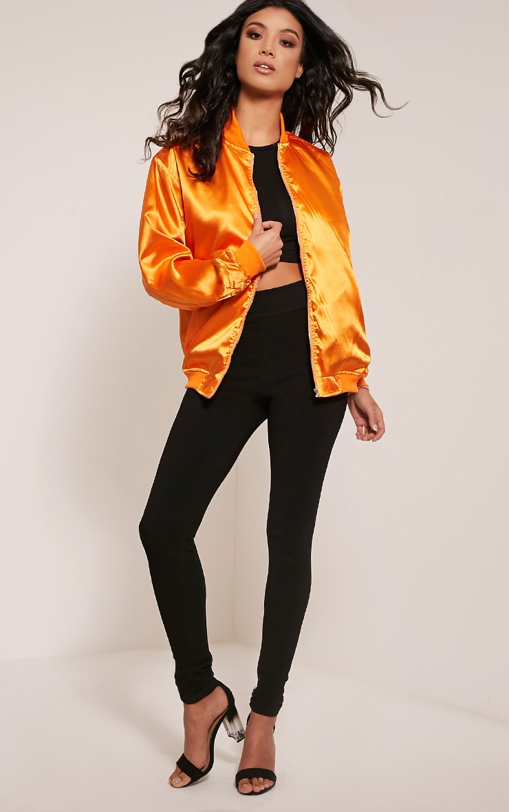 Sheena Orange Satin Bomber Jacket 5