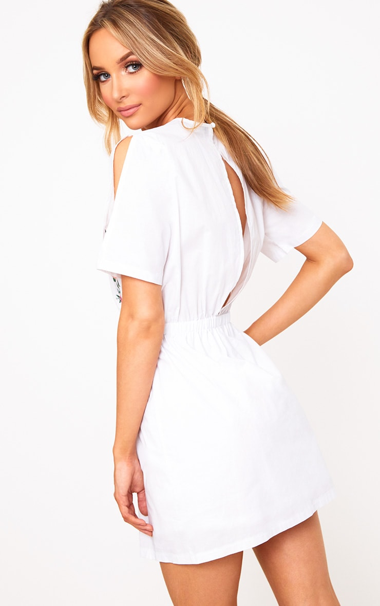 White Embroidered Cold Shoulder Shift Dress 2