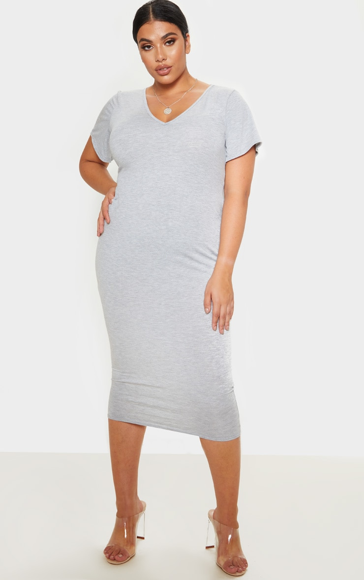 Plus Grey Marl Jersey V Neck T- Shirt Midi Dress 1