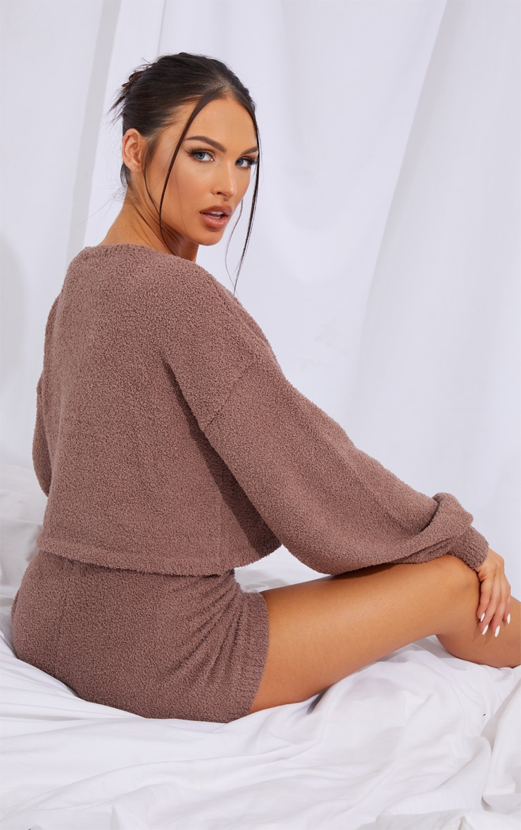 Chestnut Chenille Balloon Sleeve Sweater And Shorts Lounge Set 2