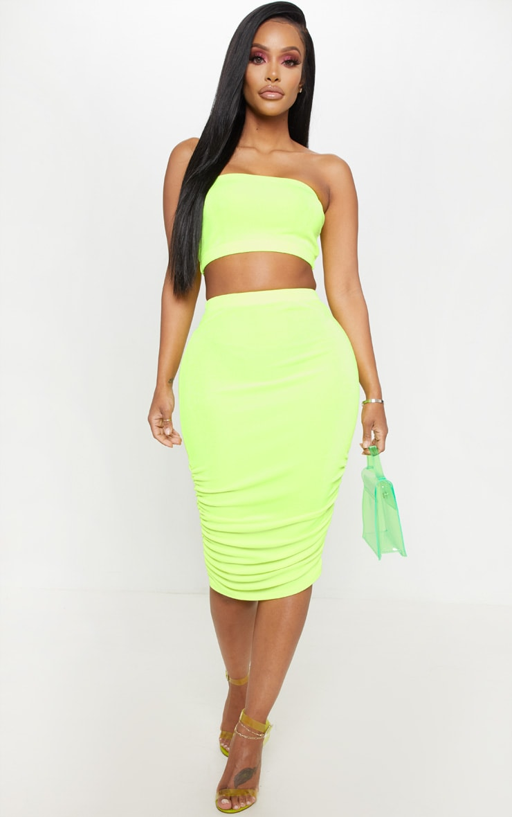 Shape Neon Yellow Slinky Bandeau Crop Top  4