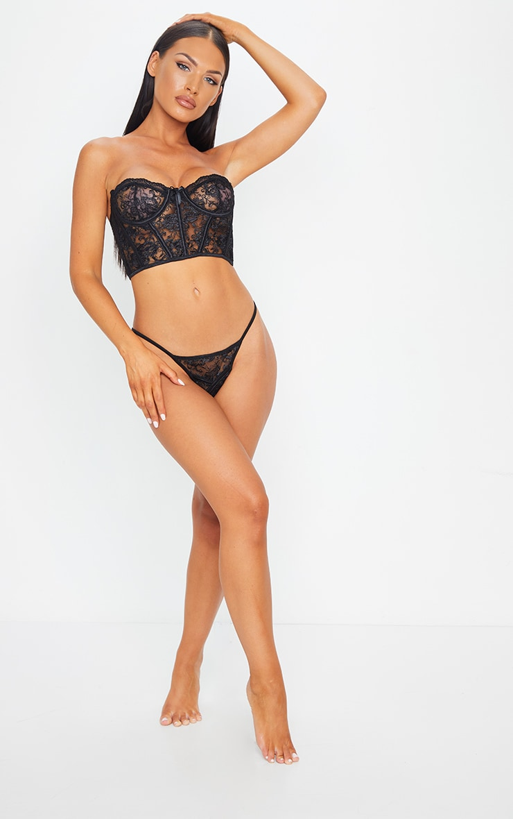 Black Embroidered Lace Corset Underwired Lingerie Set 3