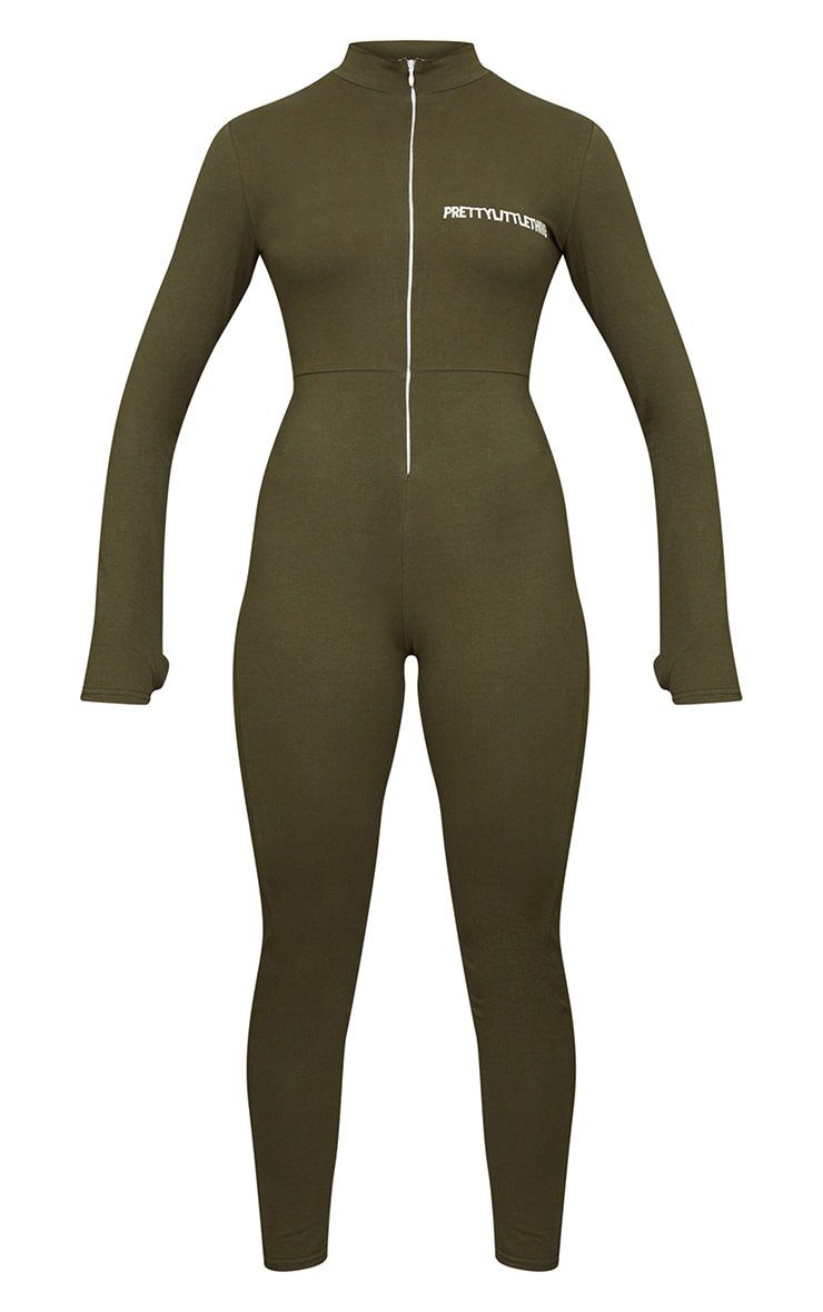PRETTYLITTLETHING Khaki Embroidered Zip Front Catsuit 5